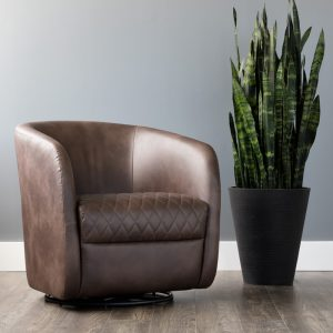 DAX SWIVEL CLUB CHAIR (BROWN)